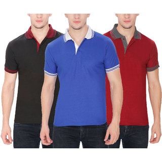 Baremoda Men's Polo T Shirt Black Blue Maroon Combo Pack of 3