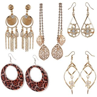 9blings Combo of 5 Classy Rose Gold and Silver Tone Crystal Cz printed Dangler Earrings