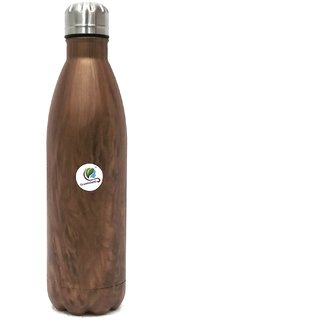 Graminheet Stainless Steel Hot  Cold Water Bottle 500ml with Wooden Look