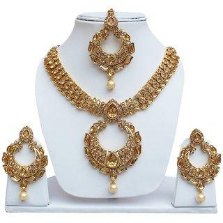 520bd2f62 Lucky Jewellery Elegant Golden Color Kundan Stone Necklace Set For Girls    Women