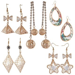 9blings Combo of 5 Stylish Rose Gold and Silver Tone Crystal Cz Floral printed Dangler Earrings
