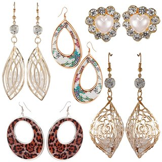 9blings Combo of 5 Classy Rose Gold Tone Crystal Cz Printed Long Dangler and Stud Earrings