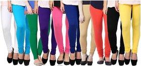 TSL Pack of 10 Cotton Lycra Leggings FOR LADIESMIX-COLOUR