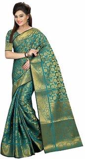 Fabrica Shoppers banarsi Jacquard  Silk FIROZI Color Saree