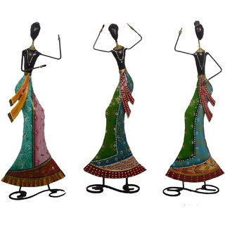 Desert Overseas Multicolor Iron Hand Painted Decorative Dancing Doll Set of 3