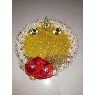 Golden stainless Steel Pooja Thali -Diameter 24 cm