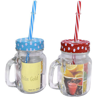 6th Dimensions Classic Mason Jar Glass Mug (250 ml, Pack of 2)