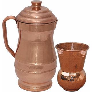 Prisha India Pure Copper Jug Picture with One Tumbler Glass Drinkware Set