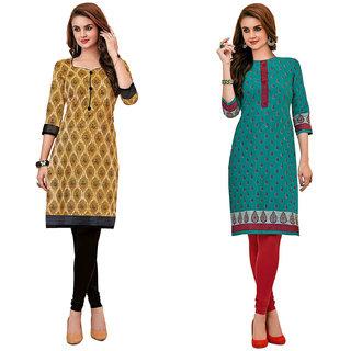 HRINKAR Multicolor and Yellow Cotton Readymade kurti cotton round neck - HRMKRCMB0368-L