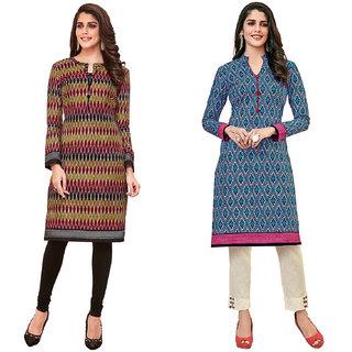 HRINKAR Multicolor and  Cotton Readymade regular kurti - HRMKRCMB0100-L