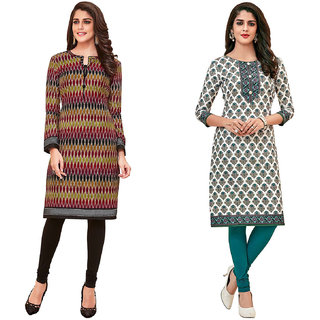 HRINKAR Multicolor and  Cotton Readymade kurti for women - HRMKRCMB0101-L