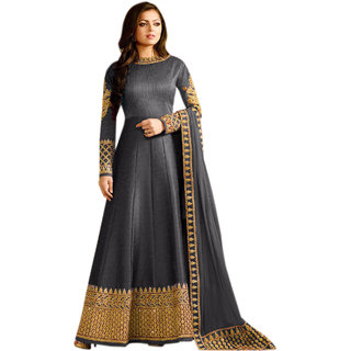 Anarkali For Women's ( Fashion Care Banglori Silk Embroideried Semi Stitched Anarkali Suit color Grey ideal for  Women's KCLTN1041401Grey)