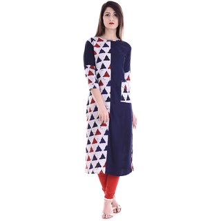 Kritika Shopping Abstract Women's A-line Kurta  (White, Blue)