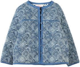 Girls Blue  White Printed Reversible Jacket
