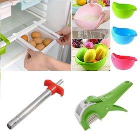 Combo of Refrigerator Space Organizer, Rice Colander Cum Fruit Vegetable Basket, Designer Gas Lighter  Vegetable Cutter