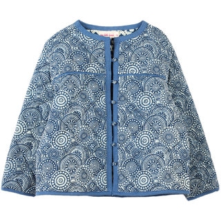 Girls Blue White Printed Reversible Jacket