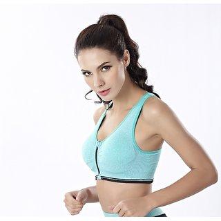 Womens Shock proof Sports Bra Front Zipper Underwear 1p Blue Vest Girls Daily Lingerie / Bra XL / S / M / L / Free Size