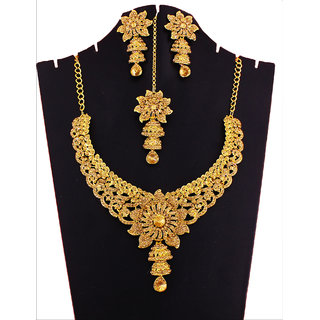 GOH Fashion jewellery Bridal Women  Party wear Necklace Set Set77