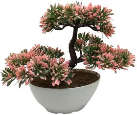 Random 3 Headed Artificial Bonsai Tree with Greenish Pink Leaves