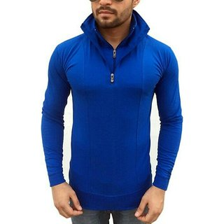 Mens Flap Collar Neck Double Zip Collar T-Shirt