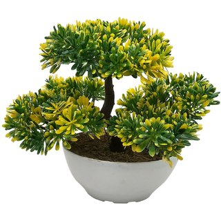 Random 3 Headed Artificial Bonsai Tree with Greenish Yellow Leaves