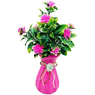 Random 5 Branched Artificial Bonsai Plant with Pink Flowers with Pink Vase