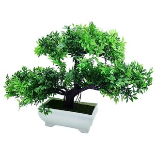 Random 3 Headed Artificial Bonsai Tree with Small Green Leaves