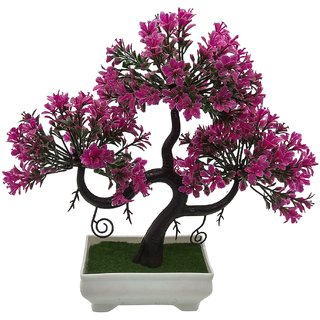Random S Shaped Artificial Bonsai Tree with Magenta Leaves