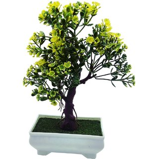 Random 3 Branched Artificial Bonsai Tree with Green Leaves and Yellow Flowers