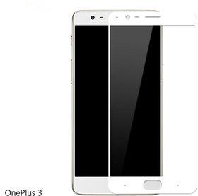 Kartik Full Covred Tempered Glass,Full Screen Color Glass 2.5d For One Plus 3 /One plus 3T - White