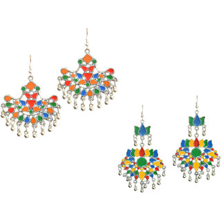 Meia Silver Plated Multicolor Alloy Hangings For Women (Combo)