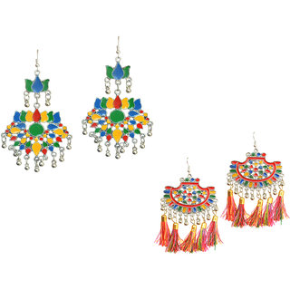 Meia Multicolor Party Wear Silver Plated Hangings Alloy Designer Earring