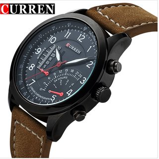 Curren Round Dial Brown Leather Strap Men Quartz Watch for Men