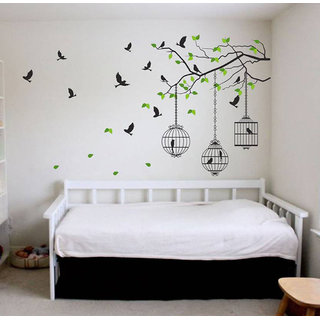 Walltola Wall Stickers Tree Branches with Leaves Birds and Cages(PVC Vinyl ,75 x 130, Multicolor)