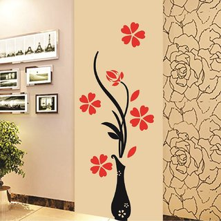 Walltola Wall Stickers Red Flowers with Vase Home Office Decoration Vinyl (PVC Vinyl ,40 x 120, Multicolor)