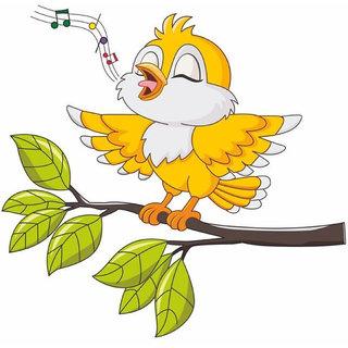 Walltola Wall Stickers Yellow Singing Bird Tweety Kids Room Design(PVC  Vinyl ,39 x 40, Multicolor)