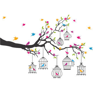 Eja Flower and Birds PVC Wall Sticker (90cmx133cm) - Multicolor