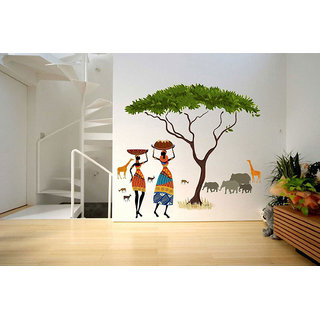Walltola Wall Stickers Artistic Tribal Ladies with Animals Nature(PVC Vinyl ,90 x 100, Multicolor)