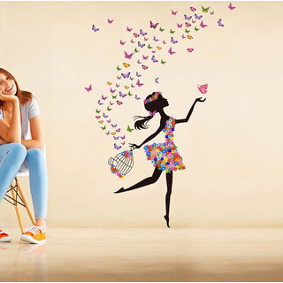 Walltola Wall Stickers Dreamy Girl With Flying Colorful Butterflies(Pvc Vinyl ,100 X 70, Multicolor)