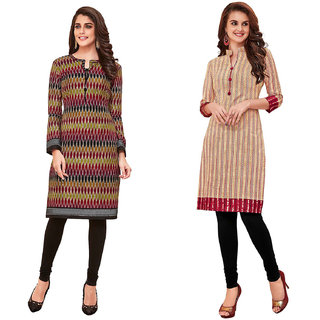 HRINKAR Multicolor and  Cotton Readymade Kurti for girls - HRMKRCMB0070-L