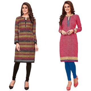 HRINKAR Multicolor and  Cotton Readymade regular kurti - HRMKRCMB0074-L