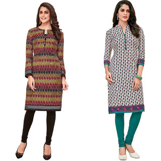 HRINKAR Multicolor and  Cotton Readymade kurti for womens cotton - HRMKRCMB0102-L