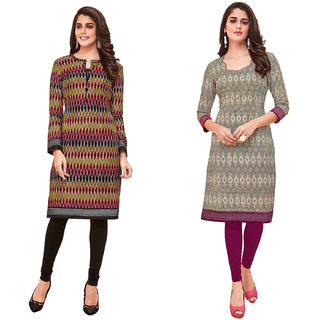 HRINKAR Multicolor and  Cotton Readymade long tops for women kurti - HRMKRCMB0099-L