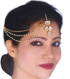 Lucky Jewellery Bridal Collection White Color Stone Tikka Wedding  Matha Patti For Girls & Women