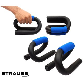 Strauss Power Push Up Bar Pair (Black/Blue)