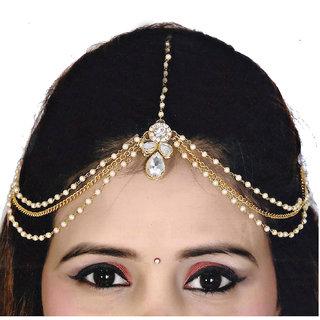 Lucky Jewellery Bridal Collection White Color Stone Tikka Wedding  Matha Patti For Girls  Women