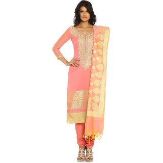 Soch Pink and Gold Chanderi Ready To Stitch Suit (Unstitched)