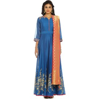 Soch Blue and Pink Chanderi Silk Suit Set (Unstitched)