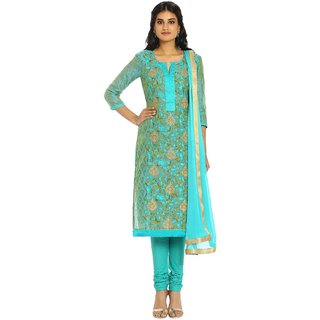 Soch Green and Gold Chanderi Ready To Stitch Suit (Unstitched)