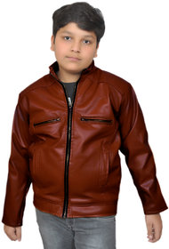 Kids boy's brown leather jacket